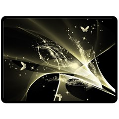 Awesome Glowing Lines With Beautiful Butterflies On Black Background Fleece Blanket (large)