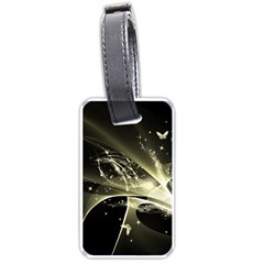 Awesome Glowing Lines With Beautiful Butterflies On Black Background Luggage Tags (Two Sides)