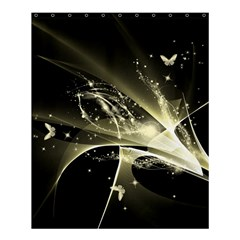 Awesome Glowing Lines With Beautiful Butterflies On Black Background Shower Curtain 60  X 72  (medium)