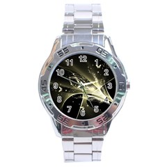 Awesome Glowing Lines With Beautiful Butterflies On Black Background Stainless Steel Men s Watch