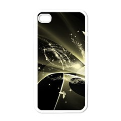 Awesome Glowing Lines With Beautiful Butterflies On Black Background Apple iPhone 4 Case (White)