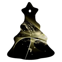 Awesome Glowing Lines With Beautiful Butterflies On Black Background Ornament (christmas Tree)