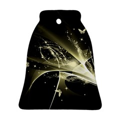 Awesome Glowing Lines With Beautiful Butterflies On Black Background Ornament (bell)