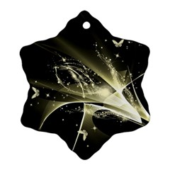 Awesome Glowing Lines With Beautiful Butterflies On Black Background Snowflake Ornament (2-Side)