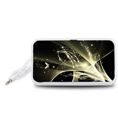 Awesome Glowing Lines With Beautiful Butterflies On Black Background Portable Speaker (White)