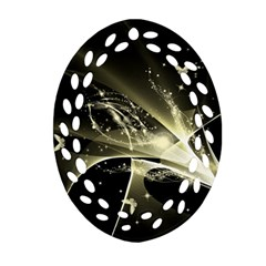 Awesome Glowing Lines With Beautiful Butterflies On Black Background Oval Filigree Ornament (2-Side)