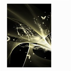 Awesome Glowing Lines With Beautiful Butterflies On Black Background Small Garden Flag (Two Sides)