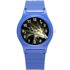 Awesome Glowing Lines With Beautiful Butterflies On Black Background Round Plastic Sport Watch (S)