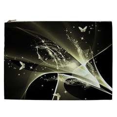 Awesome Glowing Lines With Beautiful Butterflies On Black Background Cosmetic Bag (XXL)