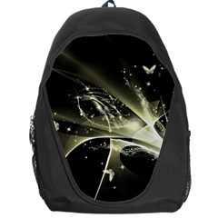 Awesome Glowing Lines With Beautiful Butterflies On Black Background Backpack Bag