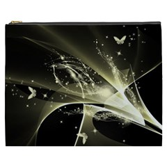 Awesome Glowing Lines With Beautiful Butterflies On Black Background Cosmetic Bag (XXXL)