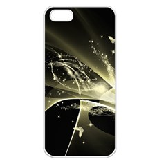 Awesome Glowing Lines With Beautiful Butterflies On Black Background Apple iPhone 5 Seamless Case (White)