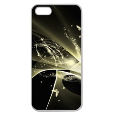 Awesome Glowing Lines With Beautiful Butterflies On Black Background Apple Seamless iPhone 5 Case (Clear)