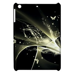 Awesome Glowing Lines With Beautiful Butterflies On Black Background Apple iPad Mini Hardshell Case