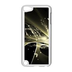Awesome Glowing Lines With Beautiful Butterflies On Black Background Apple iPod Touch 5 Case (White)