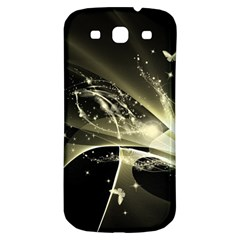 Awesome Glowing Lines With Beautiful Butterflies On Black Background Samsung Galaxy S3 S III Classic Hardshell Back Case