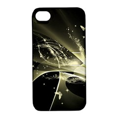 Awesome Glowing Lines With Beautiful Butterflies On Black Background Apple iPhone 4/4S Hardshell Case with Stand