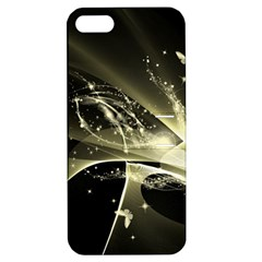 Awesome Glowing Lines With Beautiful Butterflies On Black Background Apple iPhone 5 Hardshell Case with Stand