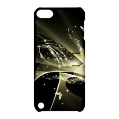 Awesome Glowing Lines With Beautiful Butterflies On Black Background Apple iPod Touch 5 Hardshell Case with Stand