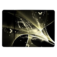 Awesome Glowing Lines With Beautiful Butterflies On Black Background Samsung Galaxy Tab 10.1  P7500 Flip Case