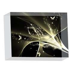 Awesome Glowing Lines With Beautiful Butterflies On Black Background 5 x 7  Acrylic Photo Blocks