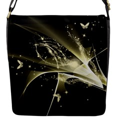 Awesome Glowing Lines With Beautiful Butterflies On Black Background Flap Messenger Bag (S)