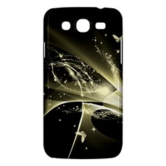 Awesome Glowing Lines With Beautiful Butterflies On Black Background Samsung Galaxy Mega 5.8 I9152 Hardshell Case
