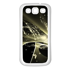 Awesome Glowing Lines With Beautiful Butterflies On Black Background Samsung Galaxy S3 Back Case (White)