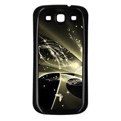 Awesome Glowing Lines With Beautiful Butterflies On Black Background Samsung Galaxy S3 Back Case (Black)