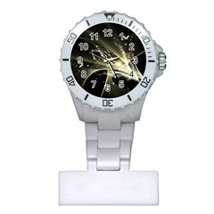 Awesome Glowing Lines With Beautiful Butterflies On Black Background Nurses Watches