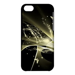 Awesome Glowing Lines With Beautiful Butterflies On Black Background Apple iPhone 5C Hardshell Case