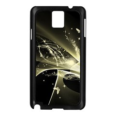 Awesome Glowing Lines With Beautiful Butterflies On Black Background Samsung Galaxy Note 3 N9005 Case (Black)