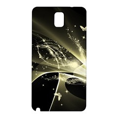 Awesome Glowing Lines With Beautiful Butterflies On Black Background Samsung Galaxy Note 3 N9005 Hardshell Back Case