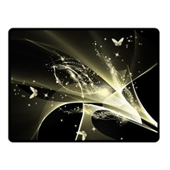 Awesome Glowing Lines With Beautiful Butterflies On Black Background Double Sided Fleece Blanket (Small)