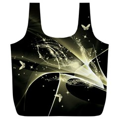 Awesome Glowing Lines With Beautiful Butterflies On Black Background Full Print Recycle Bags (L)