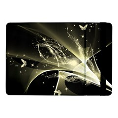 Awesome Glowing Lines With Beautiful Butterflies On Black Background Samsung Galaxy Tab Pro 10.1  Flip Case