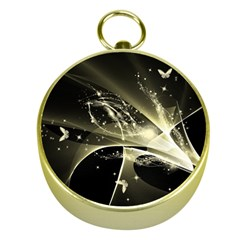 Awesome Glowing Lines With Beautiful Butterflies On Black Background Gold Compasses