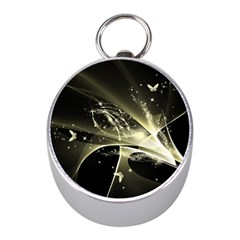 Awesome Glowing Lines With Beautiful Butterflies On Black Background Mini Silver Compasses