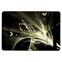 Awesome Glowing Lines With Beautiful Butterflies On Black Background iPad Air Flip