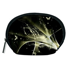 Awesome Glowing Lines With Beautiful Butterflies On Black Background Accessory Pouches (Medium)