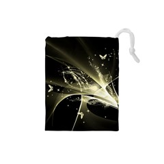 Awesome Glowing Lines With Beautiful Butterflies On Black Background Drawstring Pouches (Small)
