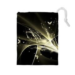 Awesome Glowing Lines With Beautiful Butterflies On Black Background Drawstring Pouches (Large)