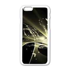 Awesome Glowing Lines With Beautiful Butterflies On Black Background Apple iPhone 6/6S White Enamel Case