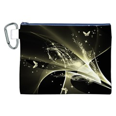 Awesome Glowing Lines With Beautiful Butterflies On Black Background Canvas Cosmetic Bag (XXL)