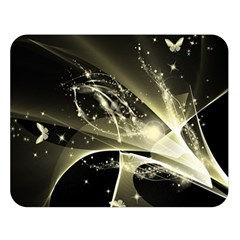Awesome Glowing Lines With Beautiful Butterflies On Black Background Double Sided Flano Blanket (large)