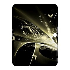 Awesome Glowing Lines With Beautiful Butterflies On Black Background Samsung Galaxy Tab 4 (10 1 ) Hardshell Case