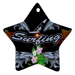 Surfboarder With Damask In Blue On Black Bakcground Ornament (Star)