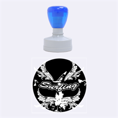 Surfboarder With Damask In Blue On Black Bakcground Rubber Round Stamps (medium)