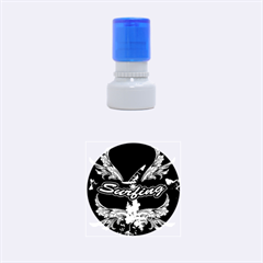 Surfboarder With Damask In Blue On Black Bakcground Rubber Round Stamps (Small)