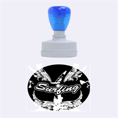 Surfboarder With Damask In Blue On Black Bakcground Rubber Oval Stamps